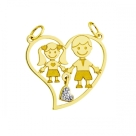 Pingente em Ouro 18k Menino e Menina com Coração de Diamantes