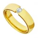 Aliança de Casamento e Noivado em Ouro 18K Dupla com Diamante 5.0mm
