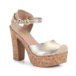 Sandália Salto Dariely dourada feminina