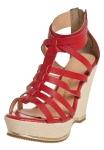 Sandália modelo Gladiadora Anabela vermelha Bottero