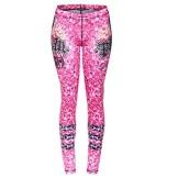 Calça Legging Feminina com Estampa de Caveira Pink