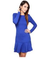 Vestido Feminino de Manga Longa Peplum Colcci Azul