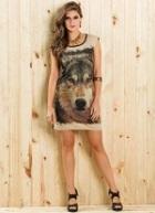 Vestido Feminino Estampa Lobo com Aplique Tachas