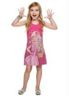 Vestido Infantil Nadador com Estampa Barbie Rosa