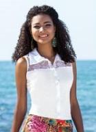 Camisa Feminina Branca Detalhe Renda