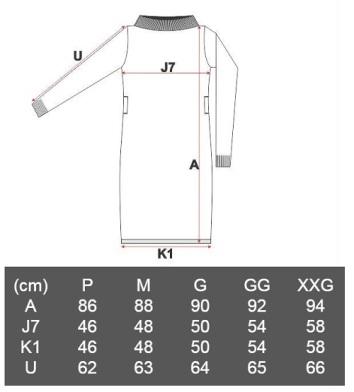 Medidas Vestido Quintes de Tricô gola alta Bordô