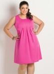 Vestido Rosa Detalhe Pregas Plus Size