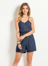 Macaquinho feminino Jeans Quintess com alças finas modelo Micro