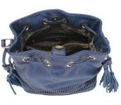 Bolsa Saco Azul Media com Detalhe Laser Wj por dentro