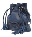 Bolsa feinina Saco Azul Media com Detalhe Laser Wj